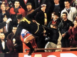 Eric Cantona kicking a fan
