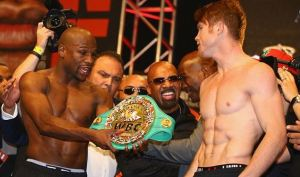Mayweather and Canelo at the weigh in