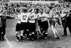 West Germany celebrate beating Hungary in 1954