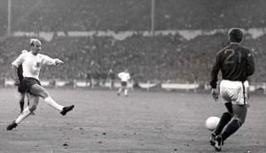 Charlton fires in against Portugal during the 1966 semi-finals at Wembley