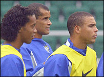Ronaldinho, Rivaldo and Ronaldo were a front three who caused havoc amongst opposition defences