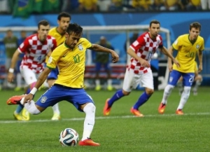 Neymar converted a controversial penalty