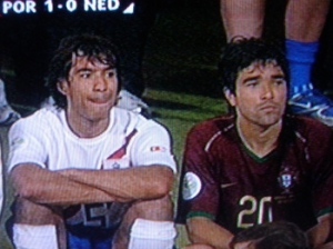 Van Bronckhorst and Deco sit side by side after their sendings-off