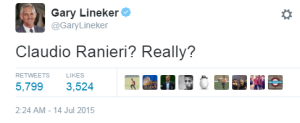 Lineker Twitter Claudio Ranieri